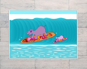 Hippo, Mom and Bub, Surfing, Psychedelic, Surf Art, Kid's Room Art, Printable, Instant Download, Digital Download, Multi Sizes, Digital Art,