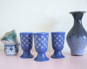 Three Blue and White Coffee Mugs / Handleless Mugs / Blue Floral Footed Coffee Cup / Ceramic Tumblers / Ceramic Wine Glass / Pedestal Coffee