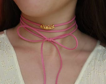 Pink Suede Choker, Pink Wrap Choker,Gift For Her Bow Choker Bohemian Wrap Choker Suede Necklace Pink Bow Choker thin Choker Leather Choker
