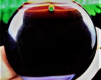 Unique Black Round Onyx Agate Pink White Stripes Onyx Agate Round Pendant Bead 45*6mm