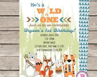 Wild One Birthday Party Invitation Zoo Tiger Bear Fox Rabbit Woodlands Tribal 1st Birthday Boy Forrest Arrows Tribe Animals