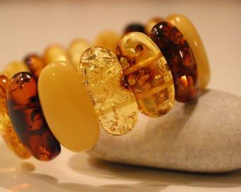Multicolor Natural Amber Bracelet , 22 g
