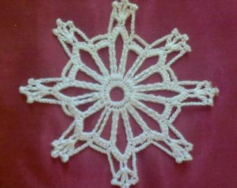 "Crochet Christmas Ornament, white snowflake 4.7 """