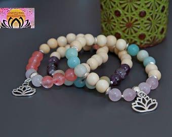 Wood Cherry Quartz Jade Bracelet-Beaded Stretchy Bracelet-Wrist Mala-Yoga Bracelet-Boho Chic Elegant Jewelry-Stacking Layering-Gift for Her