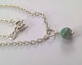 Genuine Emerald Necklace, Silver Plated Emerald Necklace, Silver plated Necklace, Emerald Necklace, Emerald, Necklace.