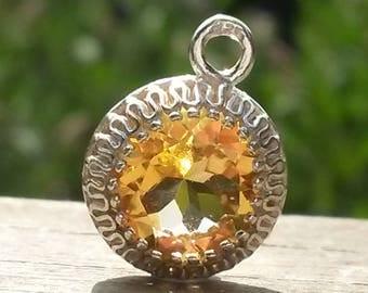Flawless citrine silver pendant