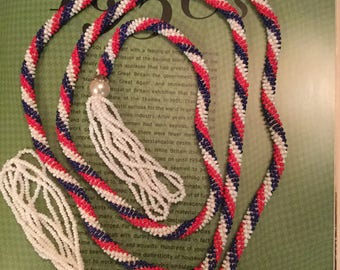 Very cool vintage red, white and blue hand-beaded necklace, belt (A247)