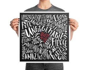 Word Art Kind Open Crazy Heart Poster, 10x10, 12x12, 16x16, 18x18, Simple Print Decor, Abstract Modern Print