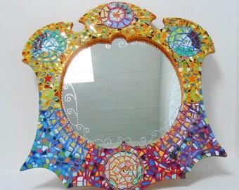 """Mosaic mirror """"water Sun space"""" 101 X 103 cm"""
