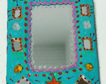 """painted mirror """"elephant with the stars"""" 12 X 17 cm, turquoise, orange and gold for the happy home decor"""
