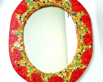 "oval mirror ""sunset"" 82 x 68 cm red and yellow"