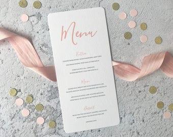 Simple Modern Rustic Wedding Menu -  Peach Calligraphy Wedding Menu - Wedding Reception Decor