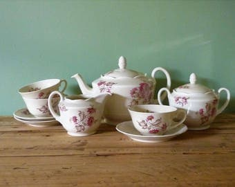 Antique Mosa Maastricht tea service - Pink flowers