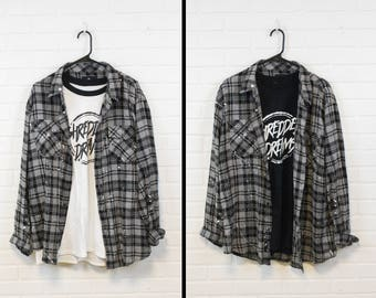 Flannel - Distressed shirt - Reworked grunge shirt - Splatter paint flannel - Medium