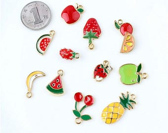 10pcs/lot Cute Golden Apple Strawberry Banana Pineapple Watermelon Cherry Charms Pendant Jewelry,Oil Fruit Charm Diy Accessories