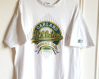 """T-shirt 100% cotton Starter """"Oakland Athletic"""" Vintage 90s Made in USA t XL(l/xl)"""