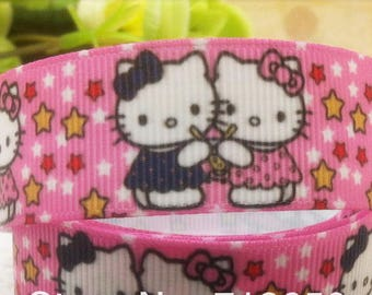 Ribbon grosgrain hello kitty cat Star Pink customisation