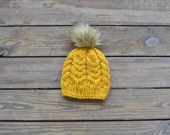 Cable Knit Beanie, Chunky Knit Hat, Knit Beanie, Faux Fur Pom Pom Hat,  ifts for Her, Fur Pom Pom Hat, Pom Pom Beanie, Winter Beanie