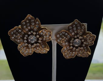 Antiquities Couture Gold-Tone Swarovski Crystal Pave Flower Earrings