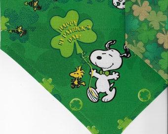 Peanuts St. Patrick's Day | St Patrick's Day Dog Bandana | Puppy Bandana | Pet Bandana | Over the Collar Bandana