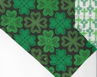 Celtic Shamrocks + Crosses | St Patrick's Day Dog Bandana | Puppy Bandana | Pet Bandana | Over the Collar Bandana