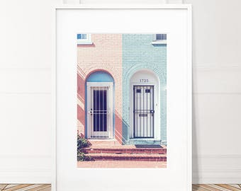 Pink And Blue Digital Print, Printable Wall Art, Instant Download, Door Print, Urban Photography, Pastel Nursery Decor, City Art, Blush Pink