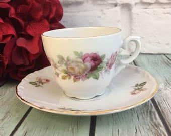 Vintage Demitasse Teacup Saucer Set Bavaria Schumann Arzberg Germany Pink White Roses Fine Bone China Floral