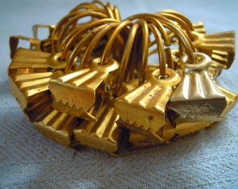 Clips for curtains. Curtain clips. Vintage metal ussr soviet clamp with ring gold color. Set of 24 pieces.