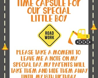Time Capsule, First Birthday Time Capsule, Construction Birthday Party, Construction First Birthday, Dump Truck Party,Truck Party