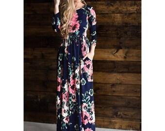Women's Floral Long Dress Abaya