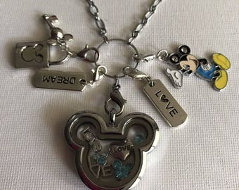 Mickey Mouse Inspired Silver Stainless Steel Glass Memory Locket