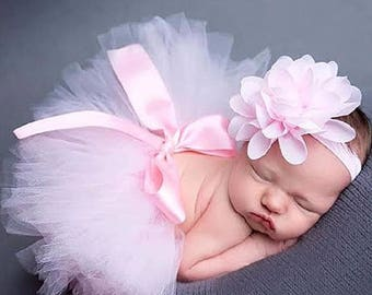 Light Pink TuTu, Beautiful Headband, Newborn Photo Prop, 1/2 Birthday,  Birthday Tutu Set...Super Cute