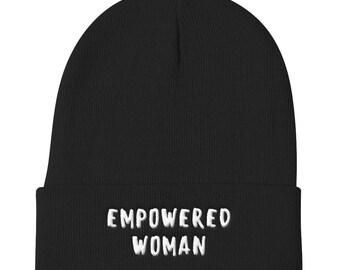 Empowered Woman Hat, Feminist Hat, Feminist Slouchy Beanie, Feminist Beanie Hat, Hipster Clothing,Embroidered Hat, Embroidered Beanie