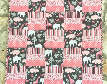 Pink and Gray Baby Girl Quilt Michael Miller Animals Stripes Floral Polka Dots Nursery Bedding