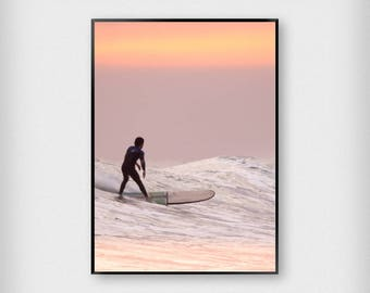 Surfer 1 Print | Tropical | Pink - Black | Surf - Wave - Poster