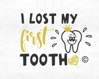 i lost my first tooth girl SVG Clipart Cut Files Silhouette Cameo Svg for Cricut and Vinyl File cutting Digital cuts file DXF Png Pdf Eps