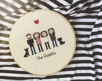 Custom Cross Stitch Family Portrait | GIFT - Housewarming - Anniversary  |
