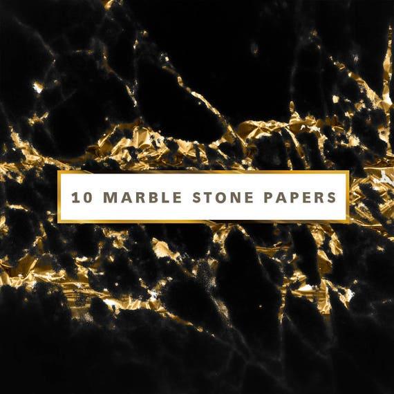 Black Gold Marble Digital Paper Black Gold Marble Planner