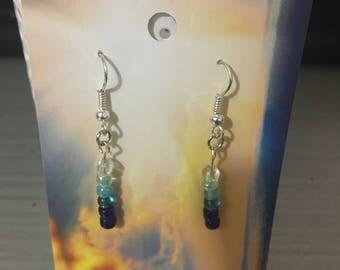 Ombre blue bead earrings