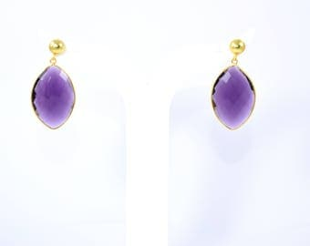 Amethyst earring , gemstone stud, natural stone earring , marquise earring, light purple stud , drop   earring, purple color stud,amethyst