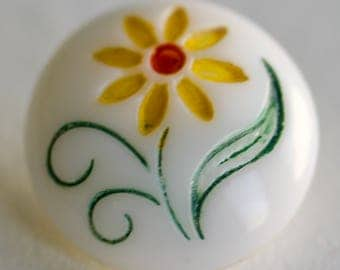 White Glass with Yellow Flower