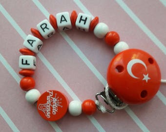 Pacifier colors countries with attached small Princess beads and country