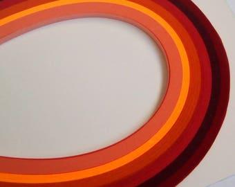 120 bandes de papier quilling orange rouge 39cmx3mm