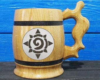 Hearthstone Wooden Beer Mug, World Of Warcraft Engraved Beer Mug Gift, WOW Handmade Wooden Mug, WOW03L