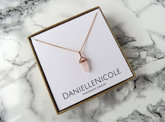 Dainty Rose Quartz Necklace, Pendant Necklace, Dainty Necklace, Dainty Jewlery, Everyday Jewelry, Rose Gold Jewelry, Statement Jewelry, Boho