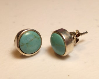 Vintage Sterling and Turquoise Round Stud Pierced Earrings