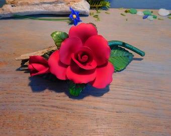 Vintage Capo di Monte Porcelain Rose, Rose Ornament, Porcelain Flower, Capodimonte Flower, Red Rose Ornament, Home decor, Hand made Italian