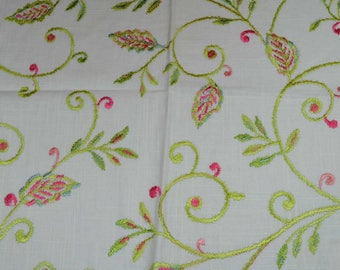 embroidered linen fabric, home decor fabric, linen fabric, embroidered fabric, linen