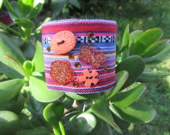 Stripped fabric Cuff Bracelet