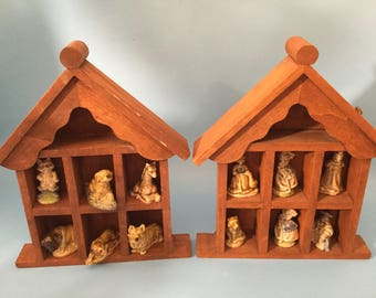 Vintage Pair of Wood Wall shelves Holding 12  Wade figurines